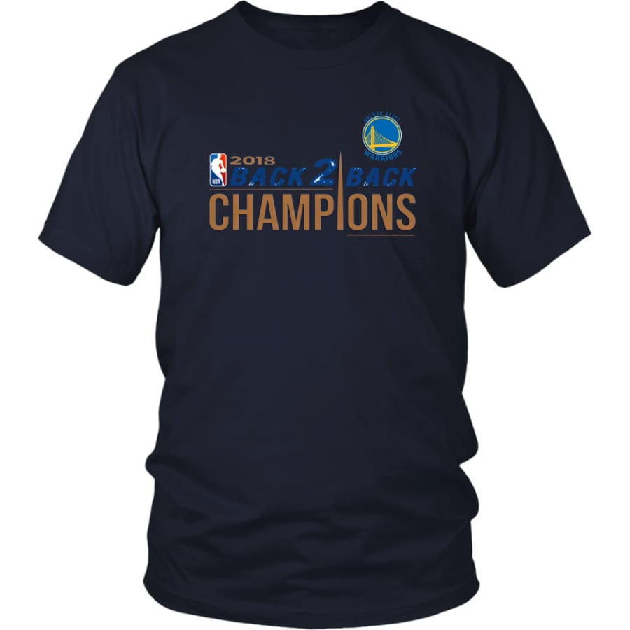 Golden State Warriors Unisex Shirt 2018 NBA Back 2 Champions (14 Colors) - District / Navy / S