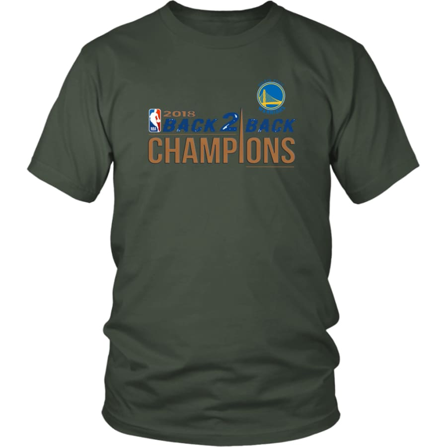 Golden State Warriors Unisex Shirt 2018 NBA Back 2 Champions (14 Colors) - District / Olive / S