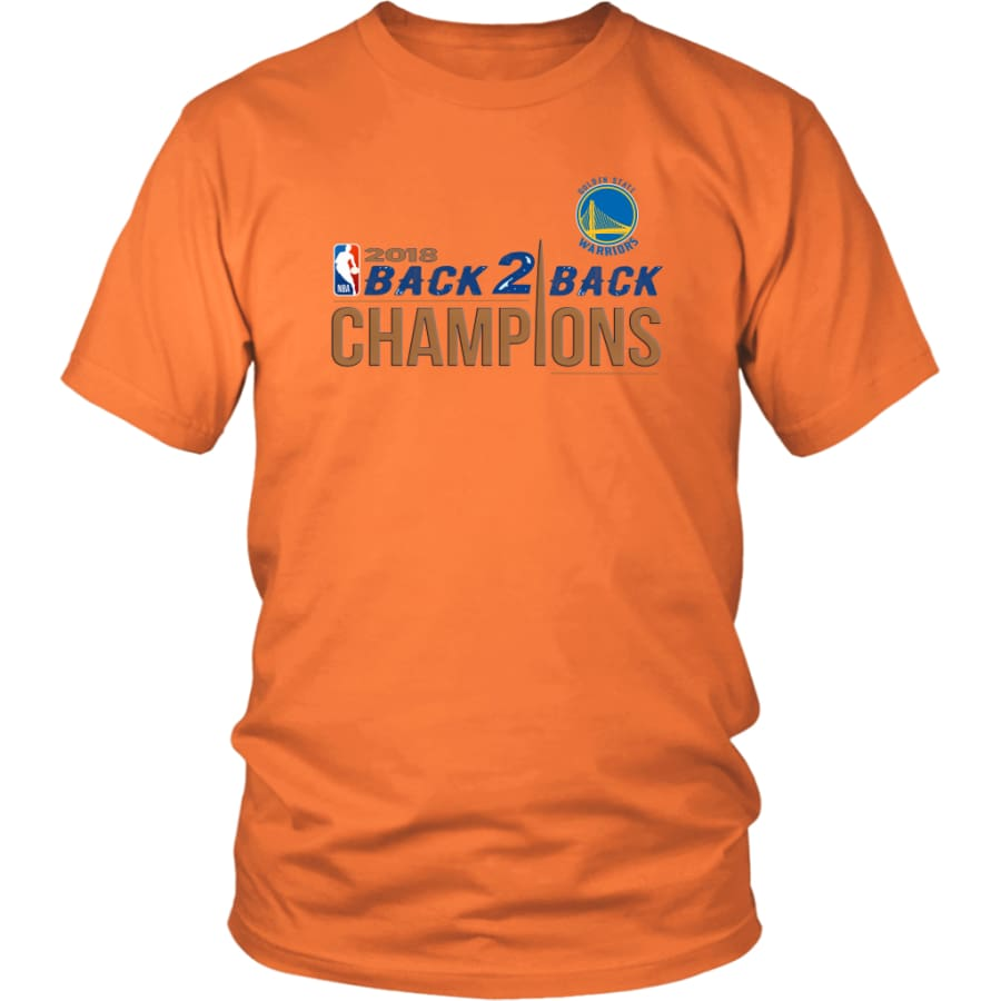 Golden State Warriors Unisex Shirt 2018 NBA Back 2 Champions (14 Colors) - District / Orange / S