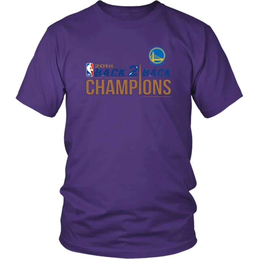 Golden State Warriors Unisex Shirt 2018 NBA Back 2 Champions (14 Colors) - District / Purple / S