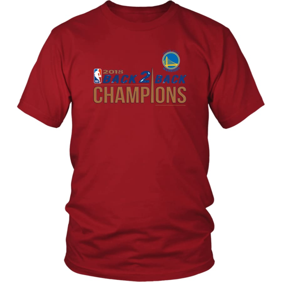 Golden State Warriors Unisex Shirt 2018 NBA Back 2 Champions (14 Colors) - District / Red / S