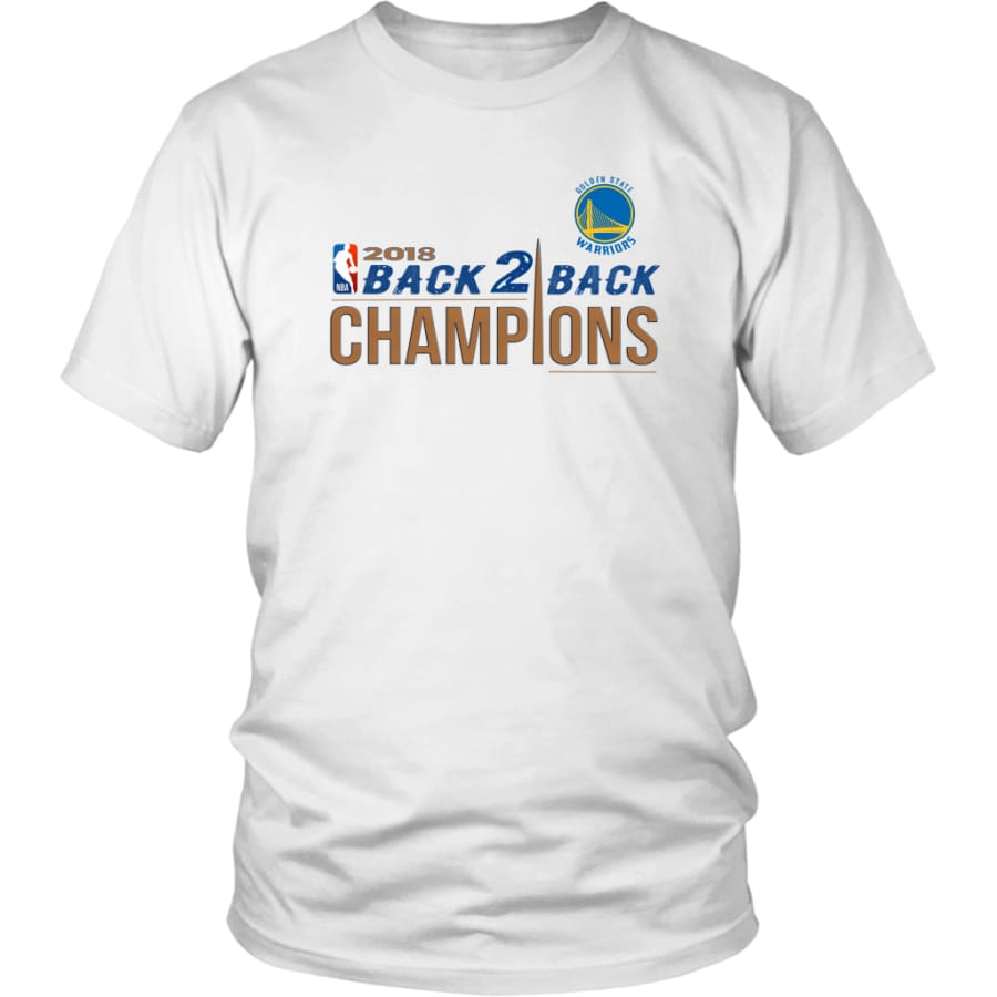 Golden State Warriors Unisex Shirt 2018 NBA Back 2 Champions (14 Colors) - District / White / S