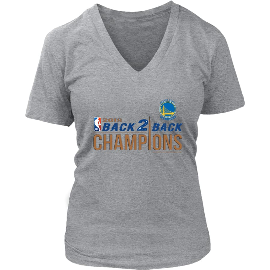 Golden State Warriors Womens V-Neck Shirt 2018 NBA Back 2 Champions (8 Colors) - District / Heathered Nickel / S