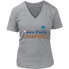Golden State Warriors Womens V-Neck Shirt|NBA Back 2 Back Champions T Shirt (8 Colors)