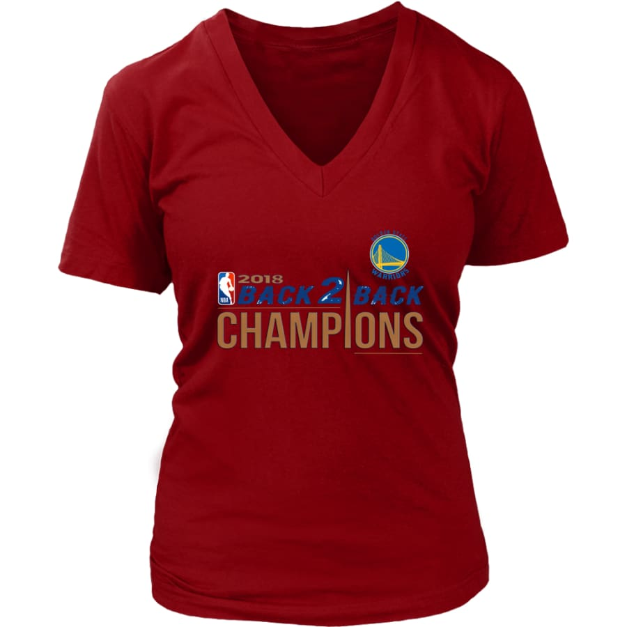 Golden State Warriors Womens V-Neck Shirt 2018 NBA Back 2 Champions (8 Colors) - District / Red / S