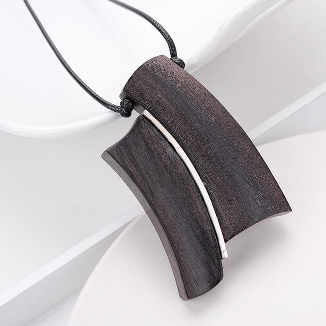 Handmade Wood Pendant Necklace for Men Women Meditation Healing (13 Styles) - 4