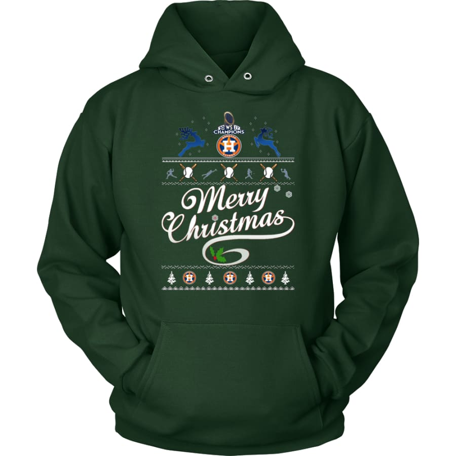 Houston Astros Champions 2017 Christmas Hoodie (12 Colors) - Unisex / Dark Green / S