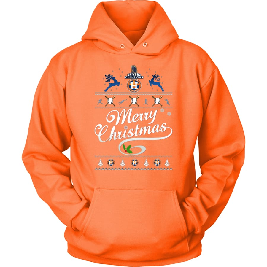 Houston Astros Champions 2017 Christmas Hoodie (12 Colors) - Unisex / Neon Orange / S