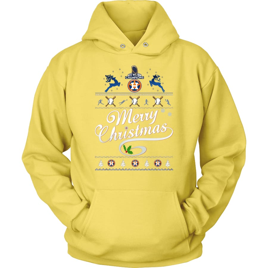 Houston Astros Champions 2017 Christmas Hoodie (12 Colors) - Unisex / Yellow / S