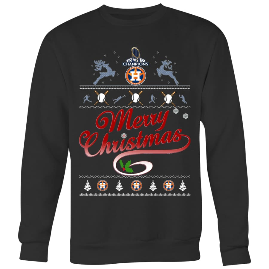 Houston Astros Champs Christmas Sweaters For Men Women (6 Colors) - Crewneck Sweatshirt / Black / S