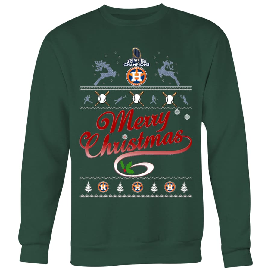 Houston Astros Champs Christmas Sweaters For Men Women (6 Colors) - Crewneck Sweatshirt / Dark Green / S