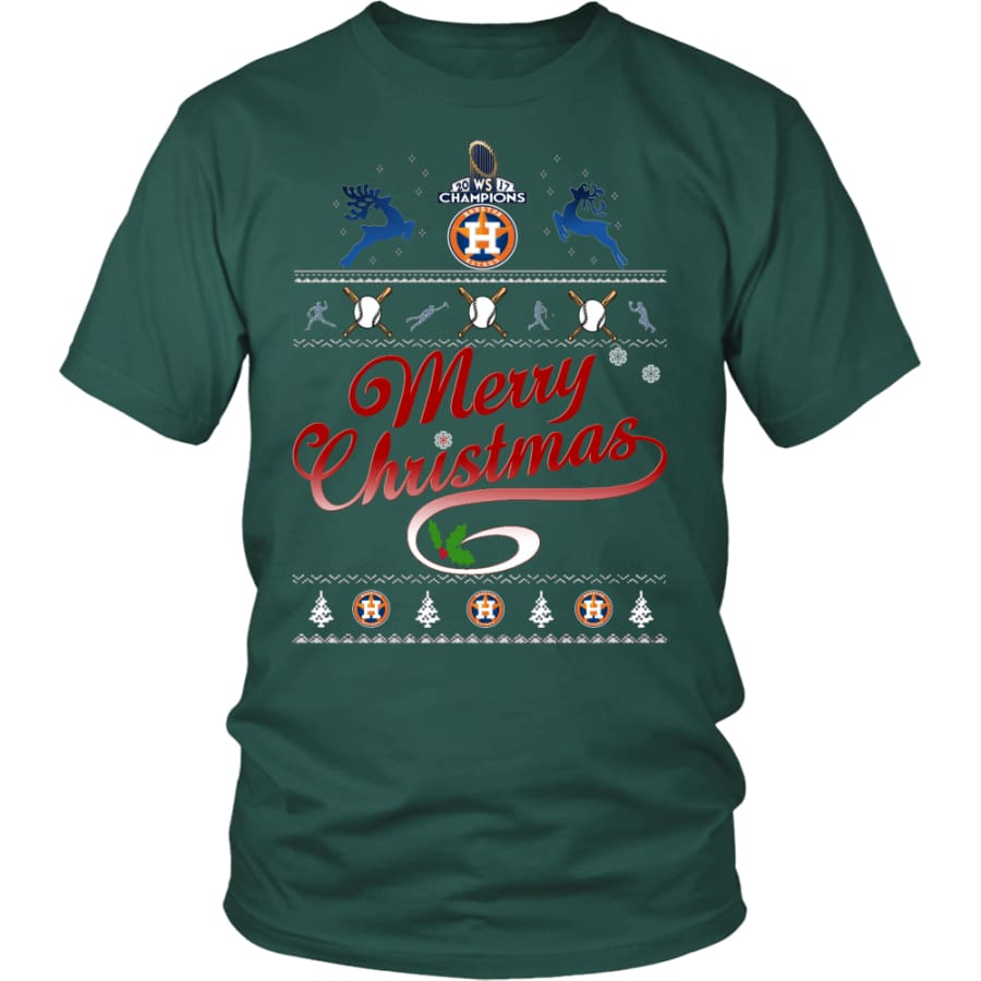 Houston Astros Shirts For Christmas (13 Colors) - District Unisex Shirt / Dark Green / S