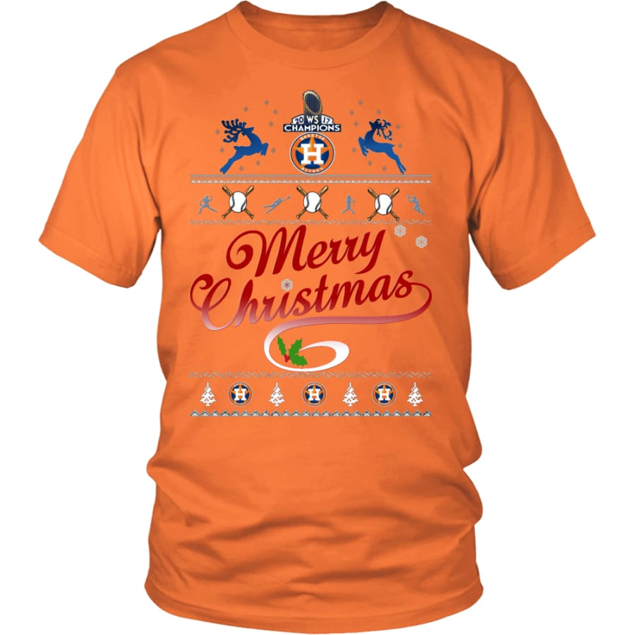 Houston Astros Shirts For Christmas (13 Colors) - District Unisex Shirt / Orange / S