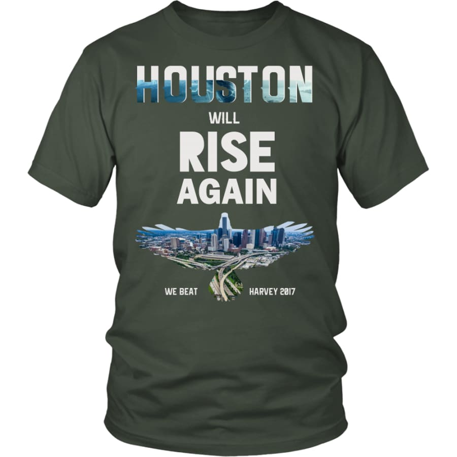 Houston Will Rise Again From Hurricane Harvey Unisex T-shirt (12 Colors) - District Shirt / Olive / S