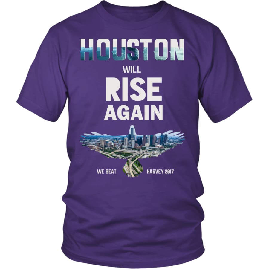 Houston Will Rise Again From Hurricane Harvey Unisex T-shirt (12 Colors) - District Shirt / Purple / S