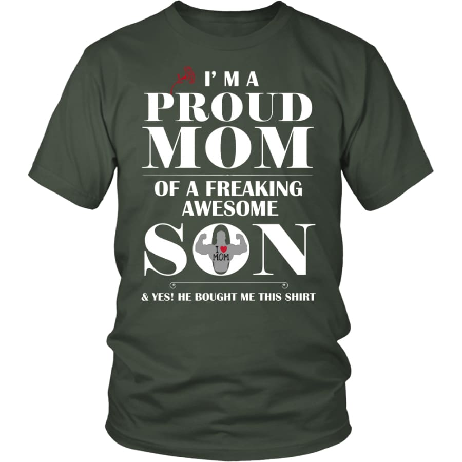 I Am A Proud Mom - Perfect Mothers Day Gift Unisex Shirt (12 Colors) - District / Olive / S