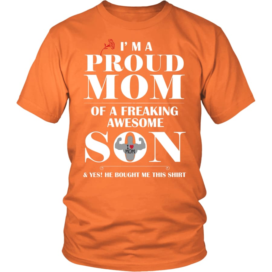 I Am A Proud Mom - Perfect Mothers Day Gift Unisex Shirt (12 Colors) - District / Orange / S