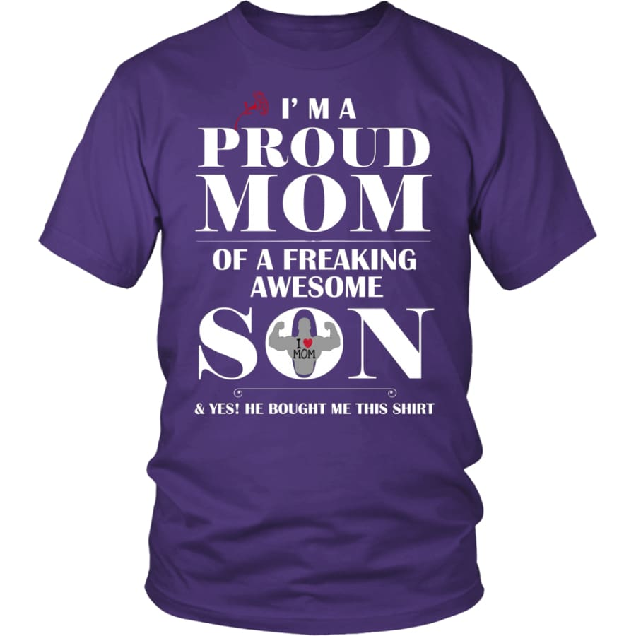 I Am A Proud Mom - Perfect Mothers Day Gift Unisex Shirt (12 Colors) - District / Purple / S