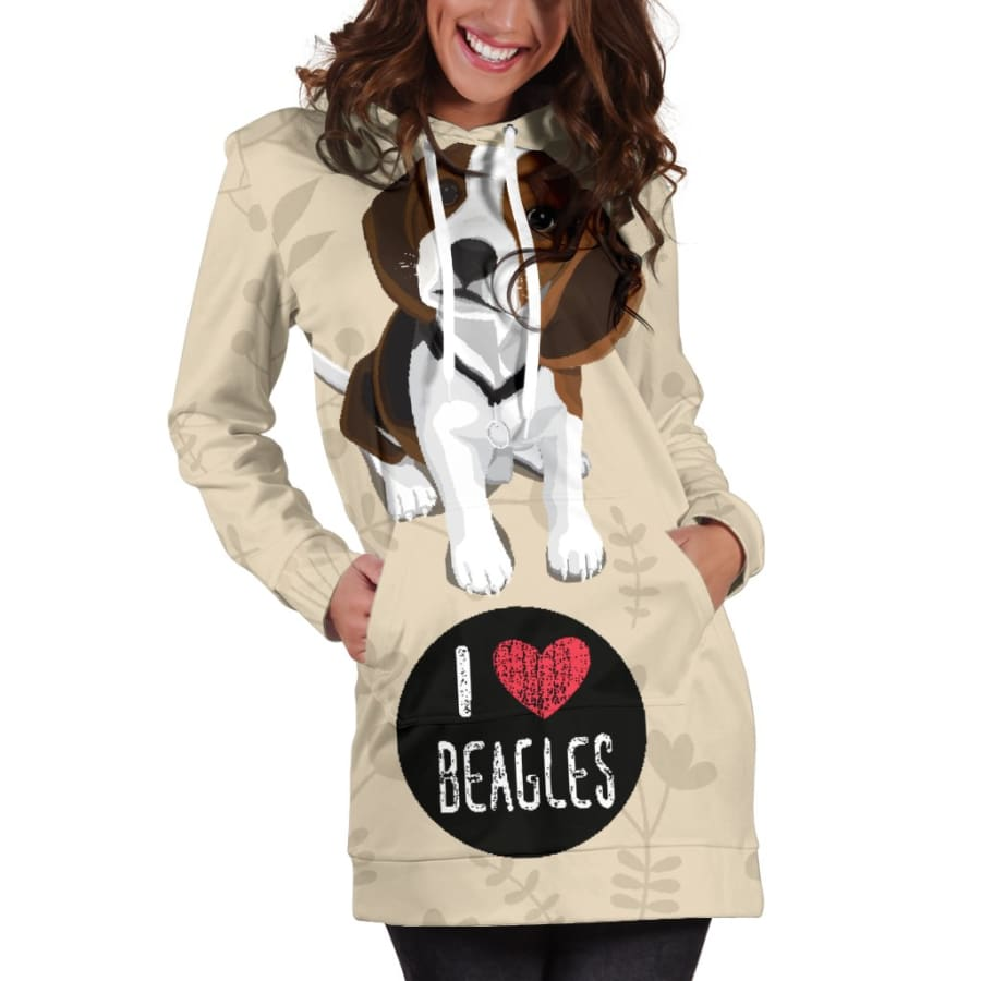 I Love Beagles Hoodie Dress for Lovers of Beagle Dogs