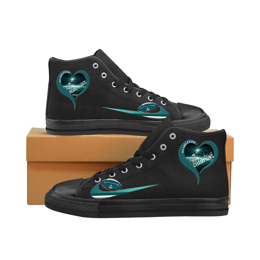 I Love Philadelphia Eagles High Top Canvas Shoes Men Women kids - Super Bowl LII Champions Black Aquila Mens (Model017) / US6 / Man