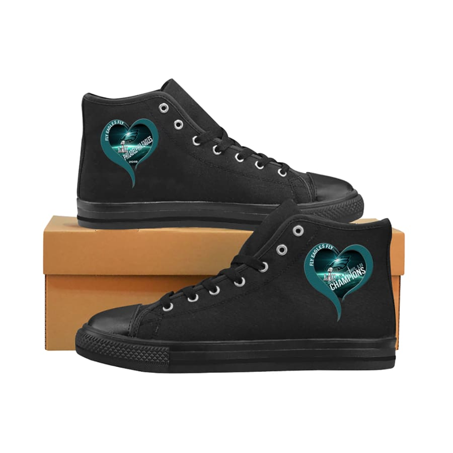 I love Philadelphia Eagles High Top Midnight Green Black| Super Bowl Shoes Mens Womens kids - LII Champions Black Aquila Canvas (Model017) /