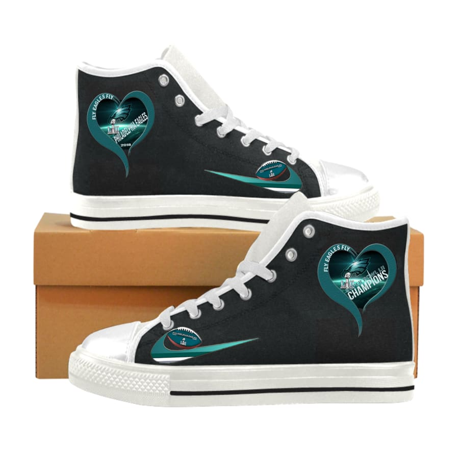 I love Philadelphia Eagles High Top Shoes Men Women kids|Super Bowl Champs - Super LII Champions Aquila Canvas Mens (Model017) / US6 / Man