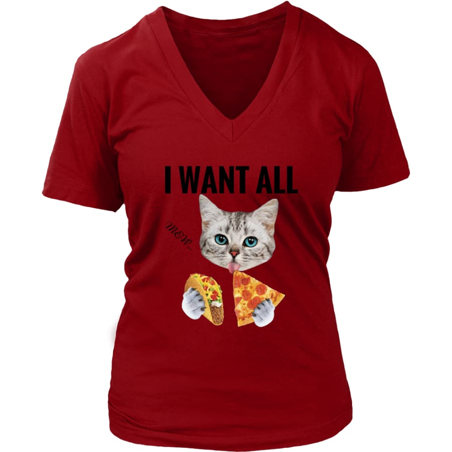 I Want All Women V-Neck T-shirt (6 colors) - District Womens / Red / S