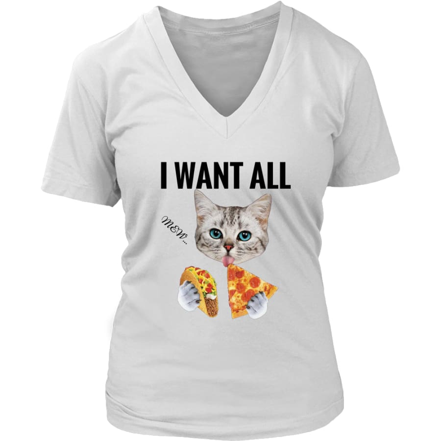 I Want All Women V-Neck T-shirt (6 colors) - District Womens / White / S