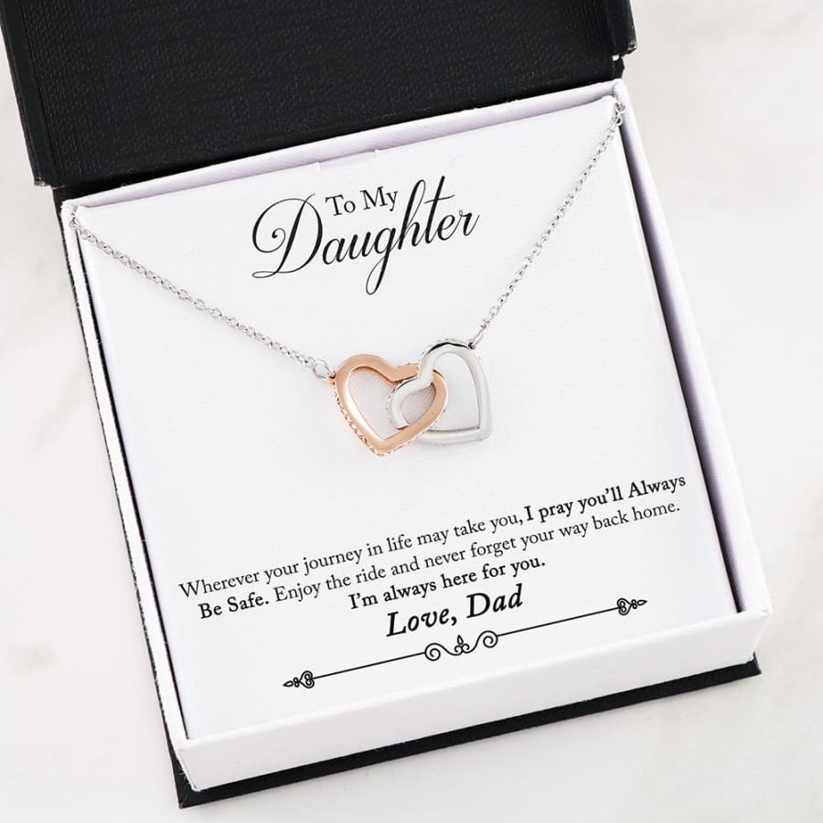 Interlocking Hearts Necklace - To My Daughter| Beloved Gift - 30-Dad-2-Daughter-Safe