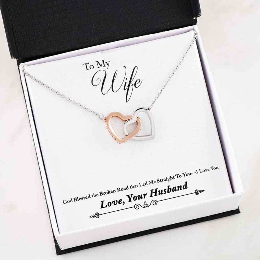 Interlocking Hearts Necklace - To My Wife Unforgettable Love - 02-Husband-2-Wife-Broken-Road