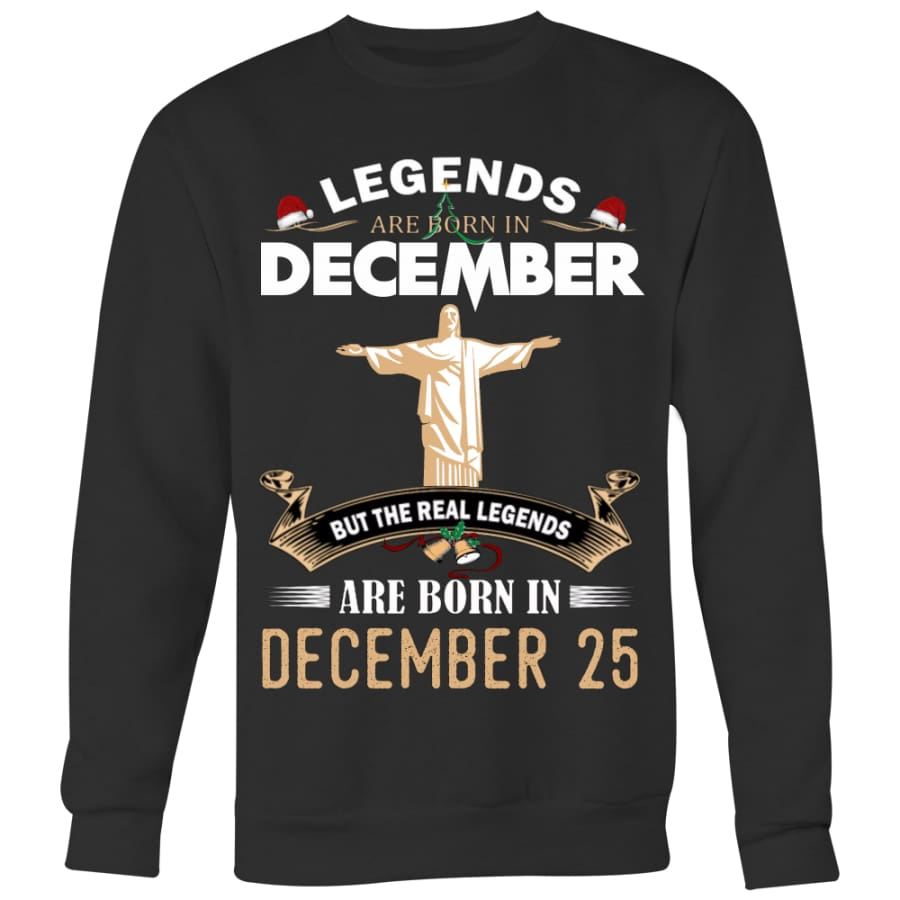 Jesus Born In Christmas Sweater For Men Women (5 colors) - Crewneck Sweatshirt / Black / S