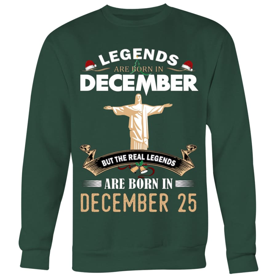 Jesus Born In Christmas Sweater For Men Women (5 colors) - Crewneck Sweatshirt / Dark Green / S
