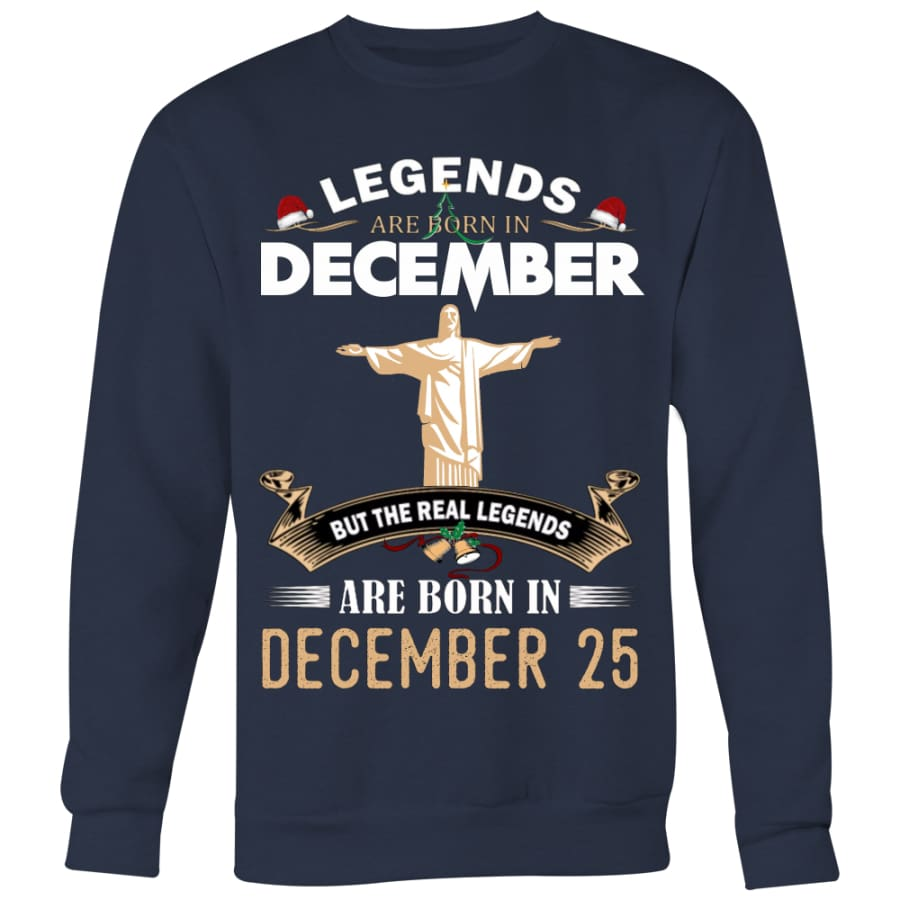 Jesus Born In Christmas Sweater For Men Women (5 colors) - Crewneck Sweatshirt / Navy / S