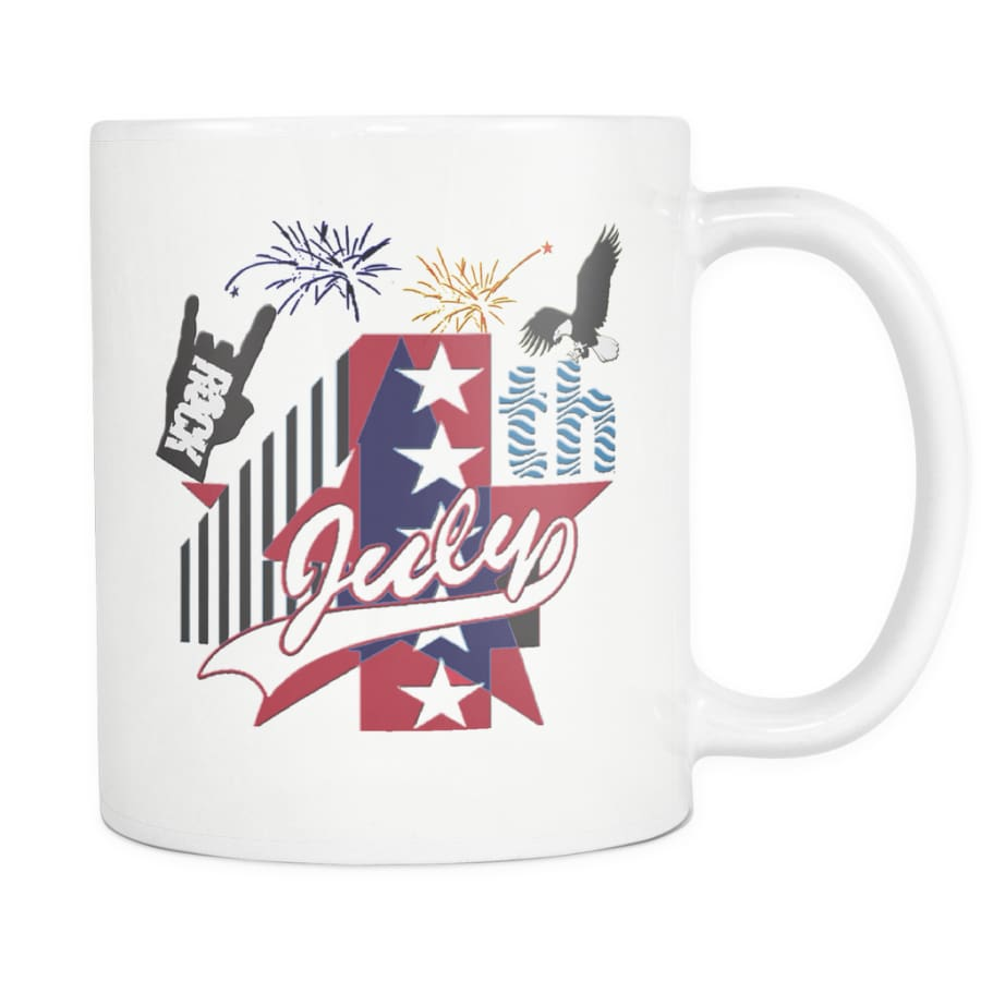 July 4th Rock - Amazing Independent Day Gift Mug (Double Sided) - White