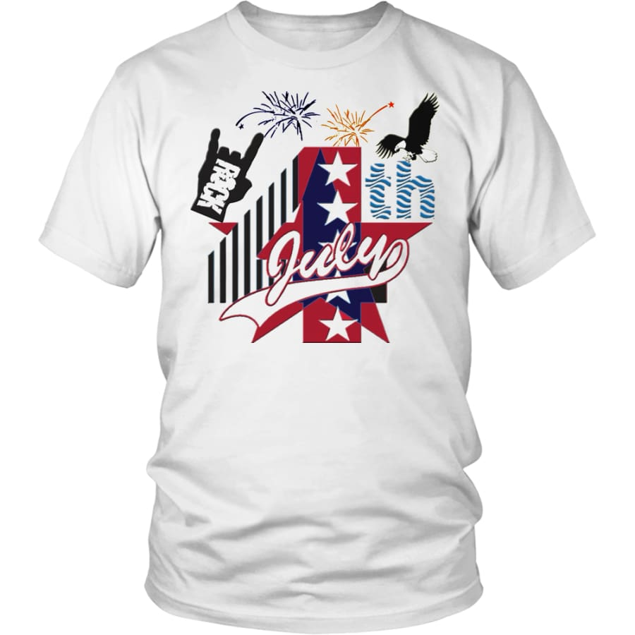 July 4th Rock - Amazing Independent Day T-shirt Men Women (13 Colors) - District Unisex Shirt / White / S