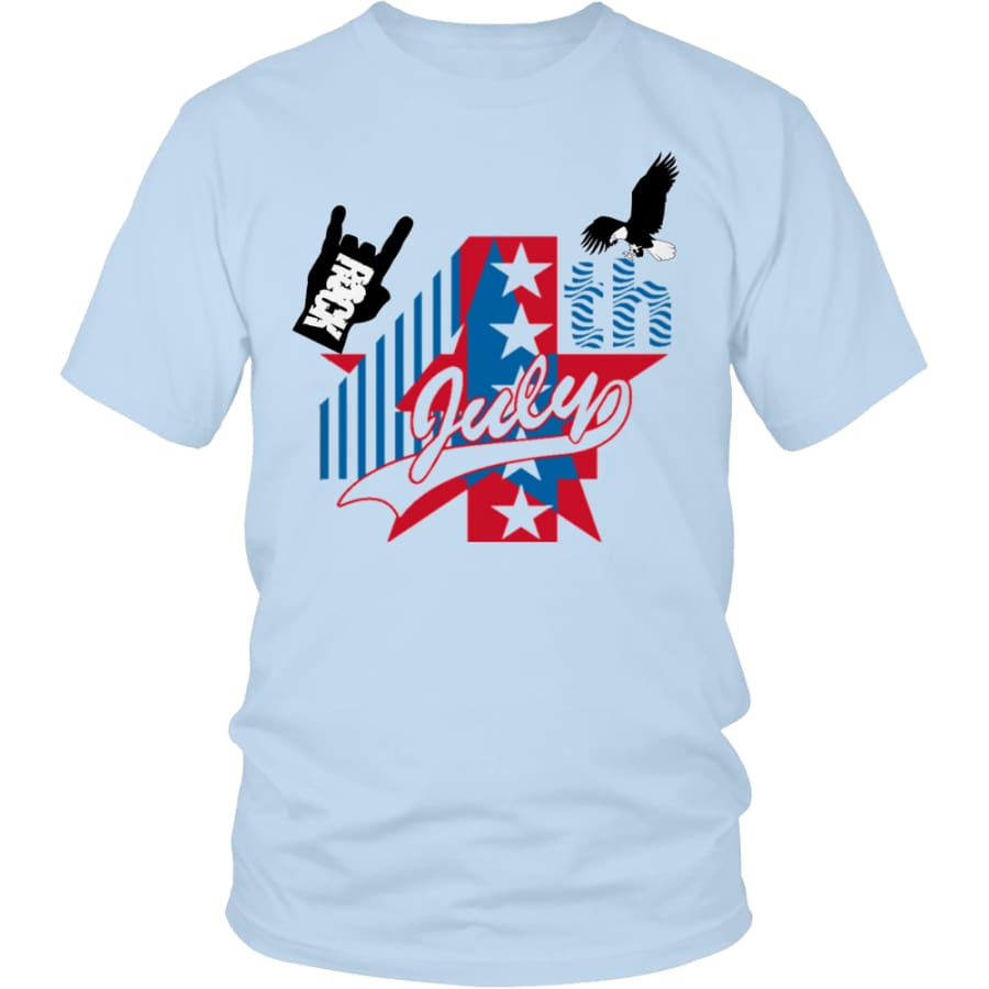 July 4th Rock - Perfect Independent Day Gift Unisex Shirt (13 Colors) - District / Ice Blue / S