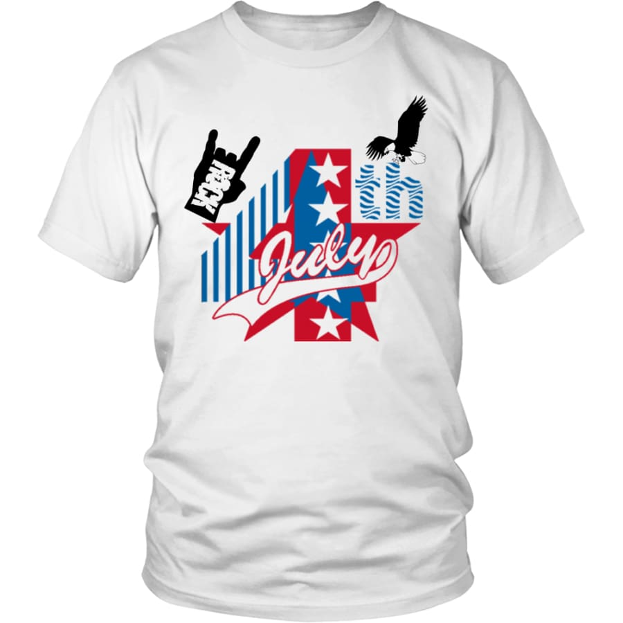July 4th Rock - Perfect Independent Day Gift Unisex Shirt (13 Colors) - District / White / S