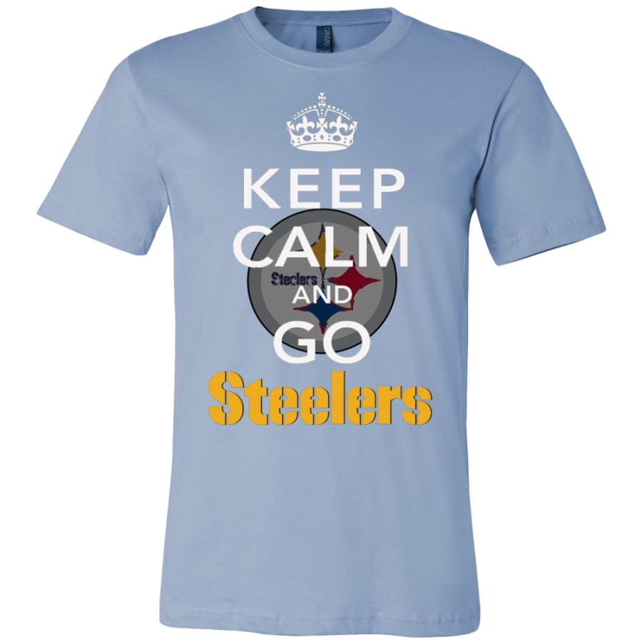 Keep Calm And Go Steelers Shirt (14 Colors) - Canvas Mens / Baby Blue / S