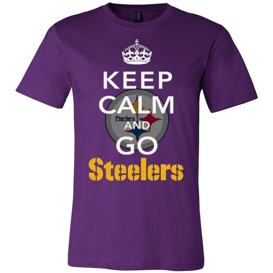 Keep Calm And Go Steelers Shirt (14 Colors) - Canvas Mens / Team Purple / S