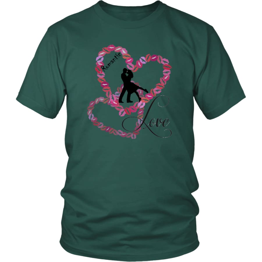 Kissing Heart - Romantic Love District Unisex Shirt (11 colors) - Dark Green / S