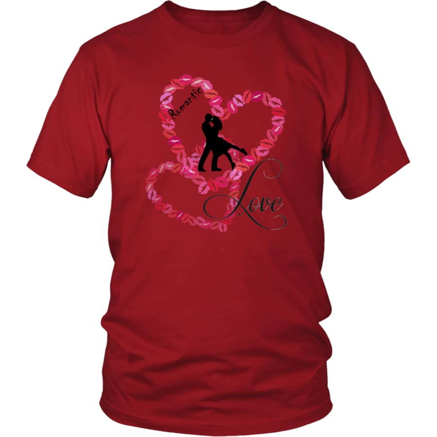 Kissing Heart - Romantic Love District Unisex Shirt (11 colors) - Red / S