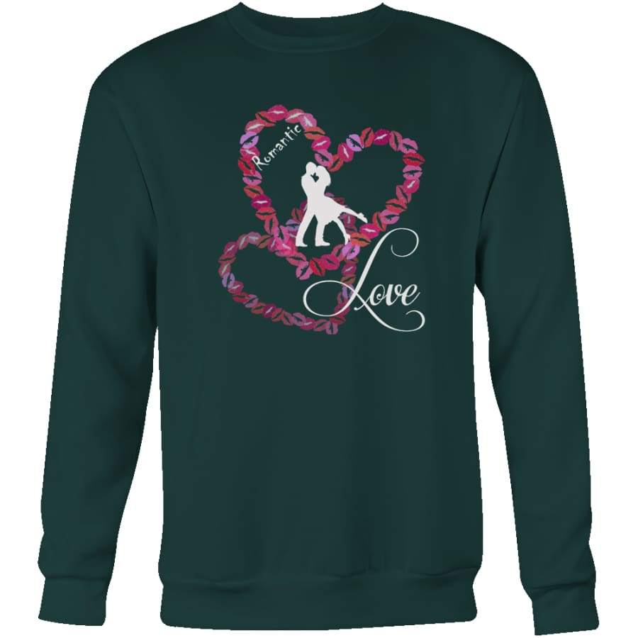 Kissing Heart - Romantic Love Unisex Crewneck Sweatshirt (4 colors) - Dark Green / S