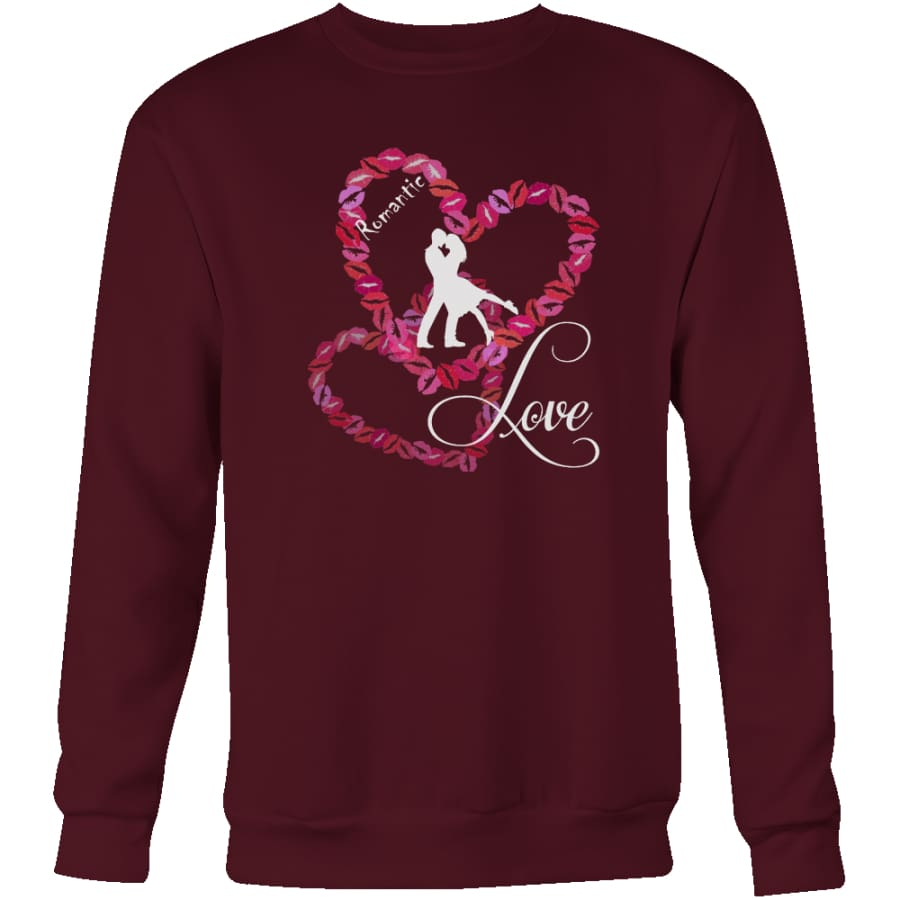 Kissing Heart - Romantic Love Unisex Crewneck Sweatshirt (4 colors) - Maroon / S