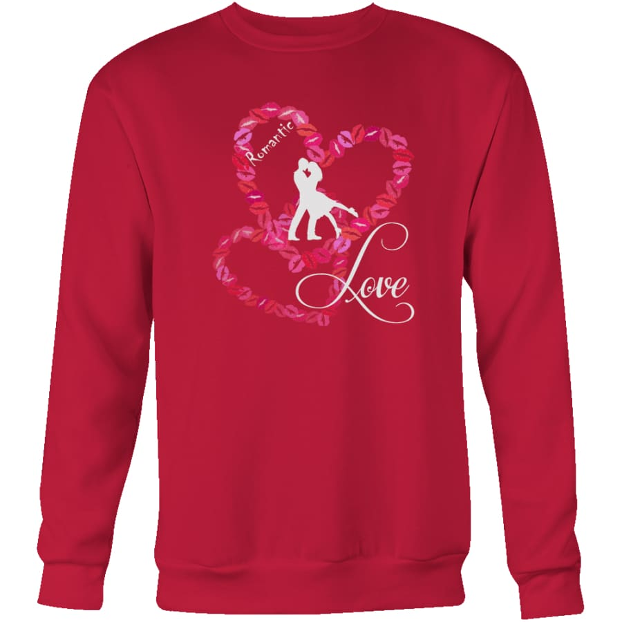Kissing Heart - Romantic Love Unisex Crewneck Sweatshirt (4 colors) - Red / S
