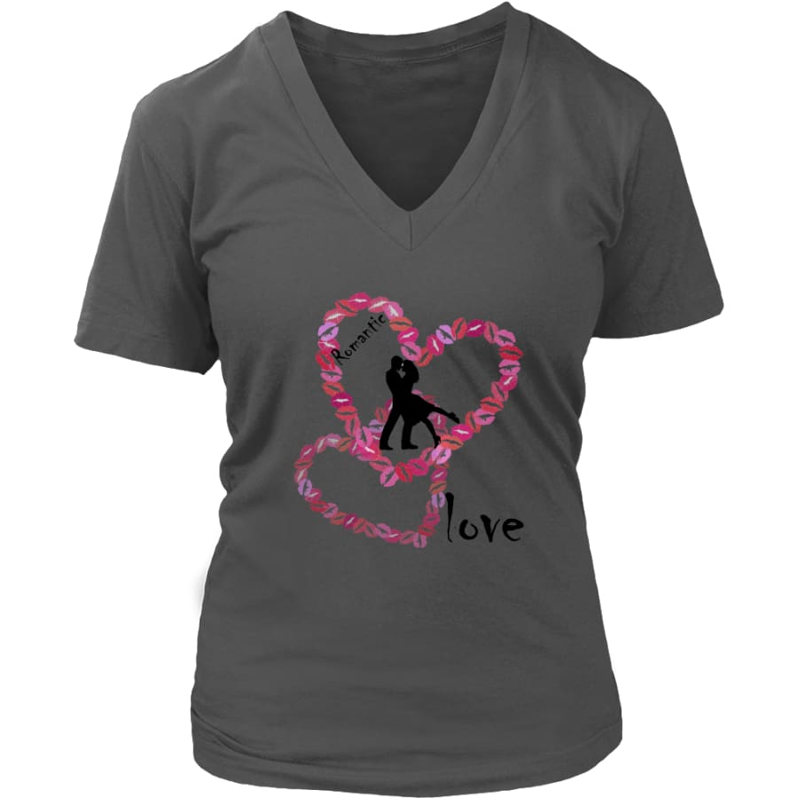 Kissing Lips Heart - Romantic Love District Womens V-Neck T-shirt (7 colors) - Charcoal / S