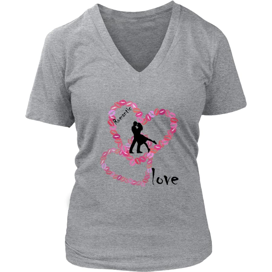Kissing Lips Heart - Romantic Love District Womens V-Neck T-shirt (7 colors) - Heathered Nickel / S
