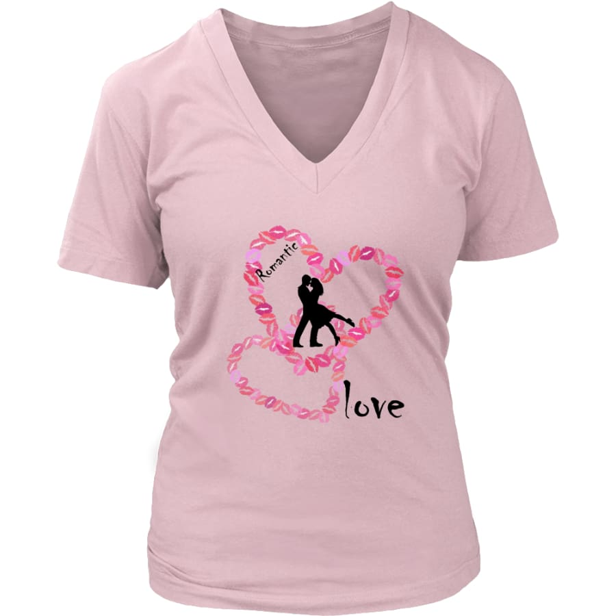 Kissing Lips Heart - Romantic Love District Womens V-Neck T-shirt (7 colors) - Pink / S