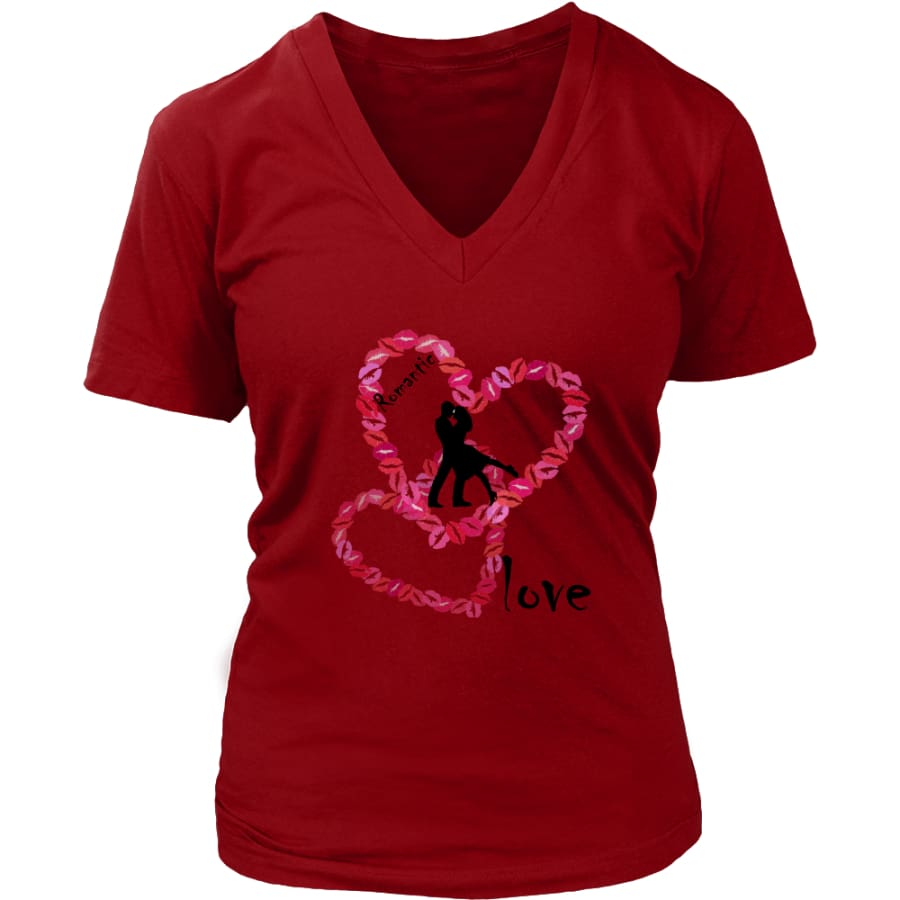 Kissing Lips Heart - Romantic Love District Womens V-Neck T-shirt (7 colors) - Red / S