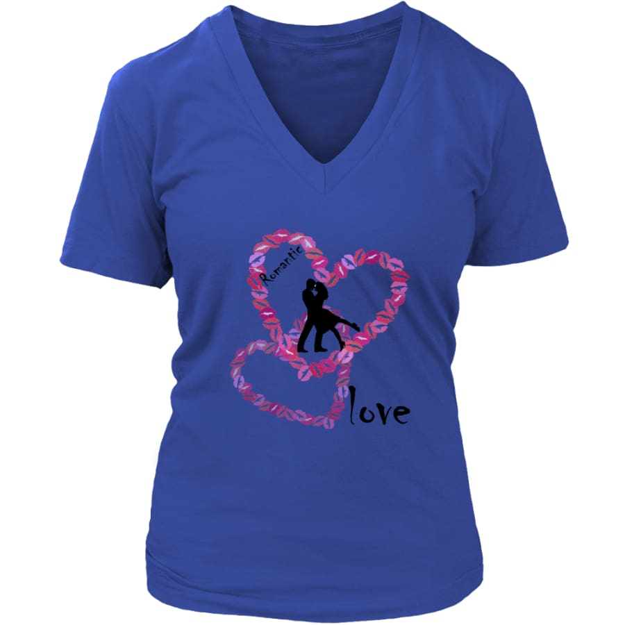 Kissing Lips Heart - Romantic Love District Womens V-Neck T-shirt (7 colors) - Royal Blue / S