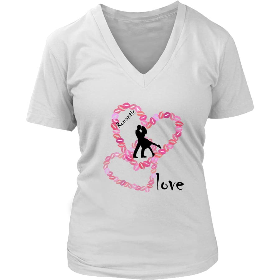 Kissing Lips Heart - Romantic Love District Womens V-Neck T-shirt (7 colors) - White / S